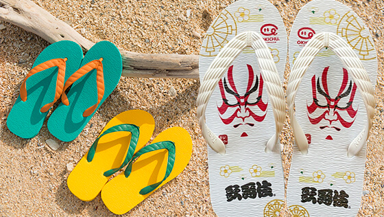 OKICHU's shima-zouri sandals printed with various designs by UV printer
