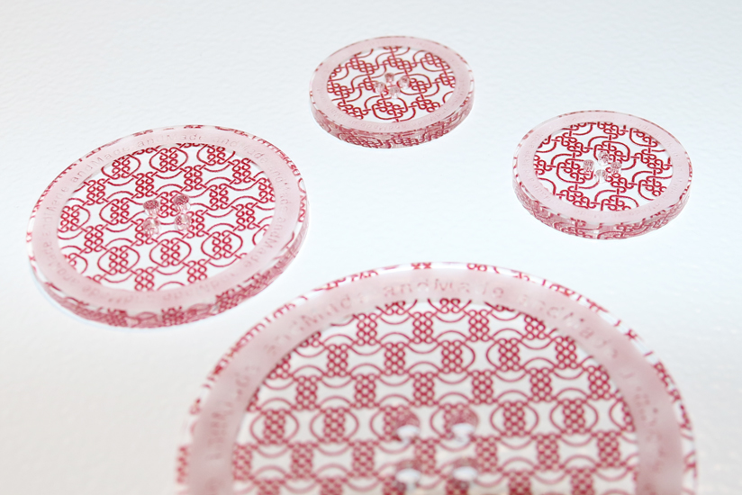 One-of-a-kind buttons printed using the UV-LED printer
