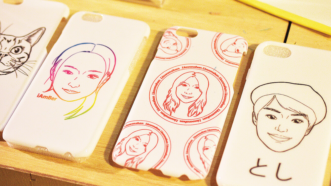 Smartphone cases printed with portraits were immensely popular at Pop Up Asia Taipei