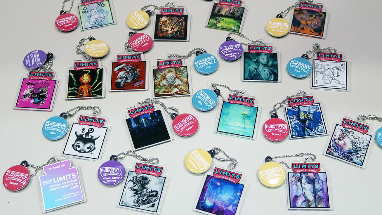 One-of-a-kind key chains made by printing out artists' designs.