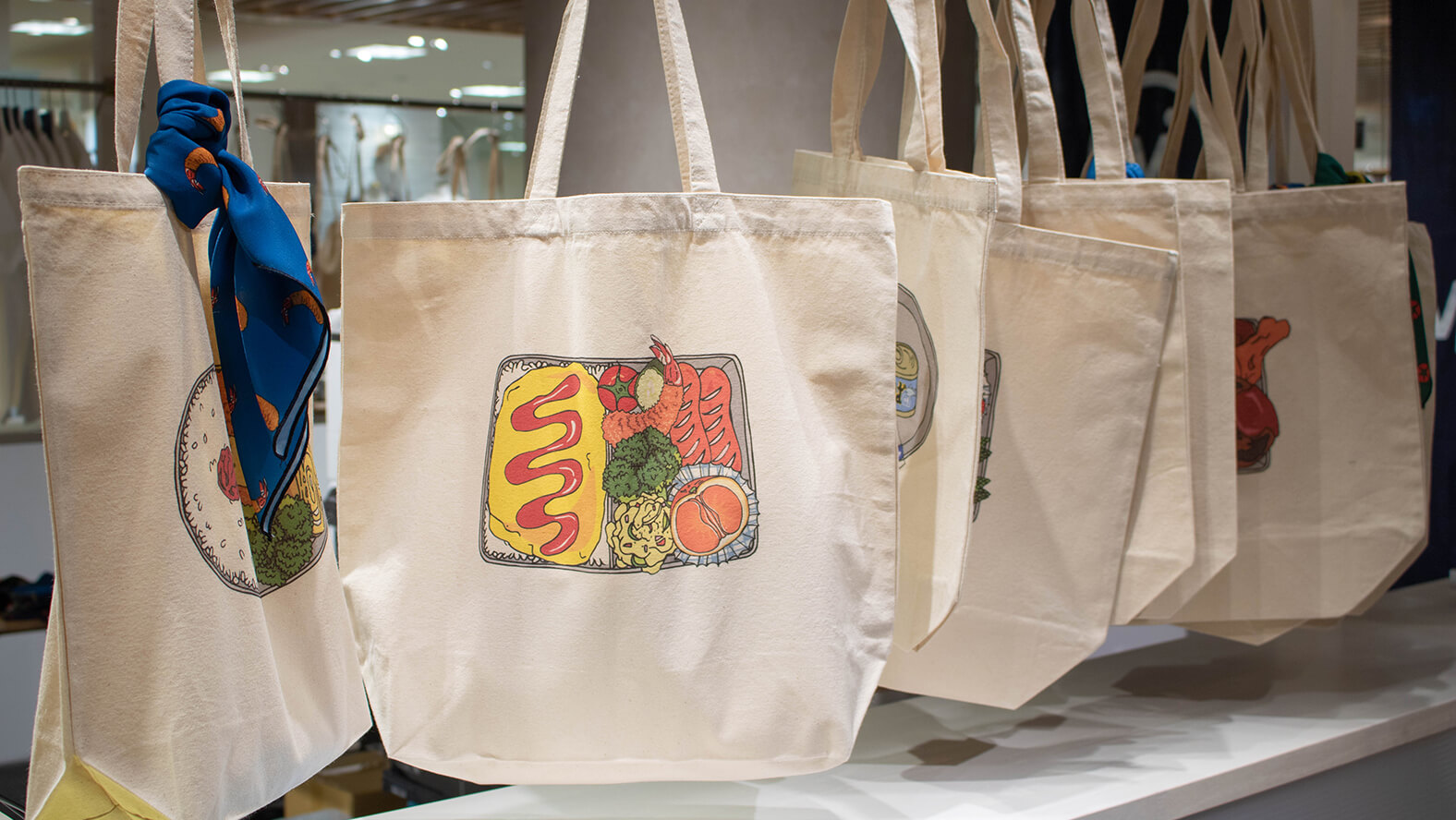 One-of-a-kind tote bags with unique bento lunchbox designs