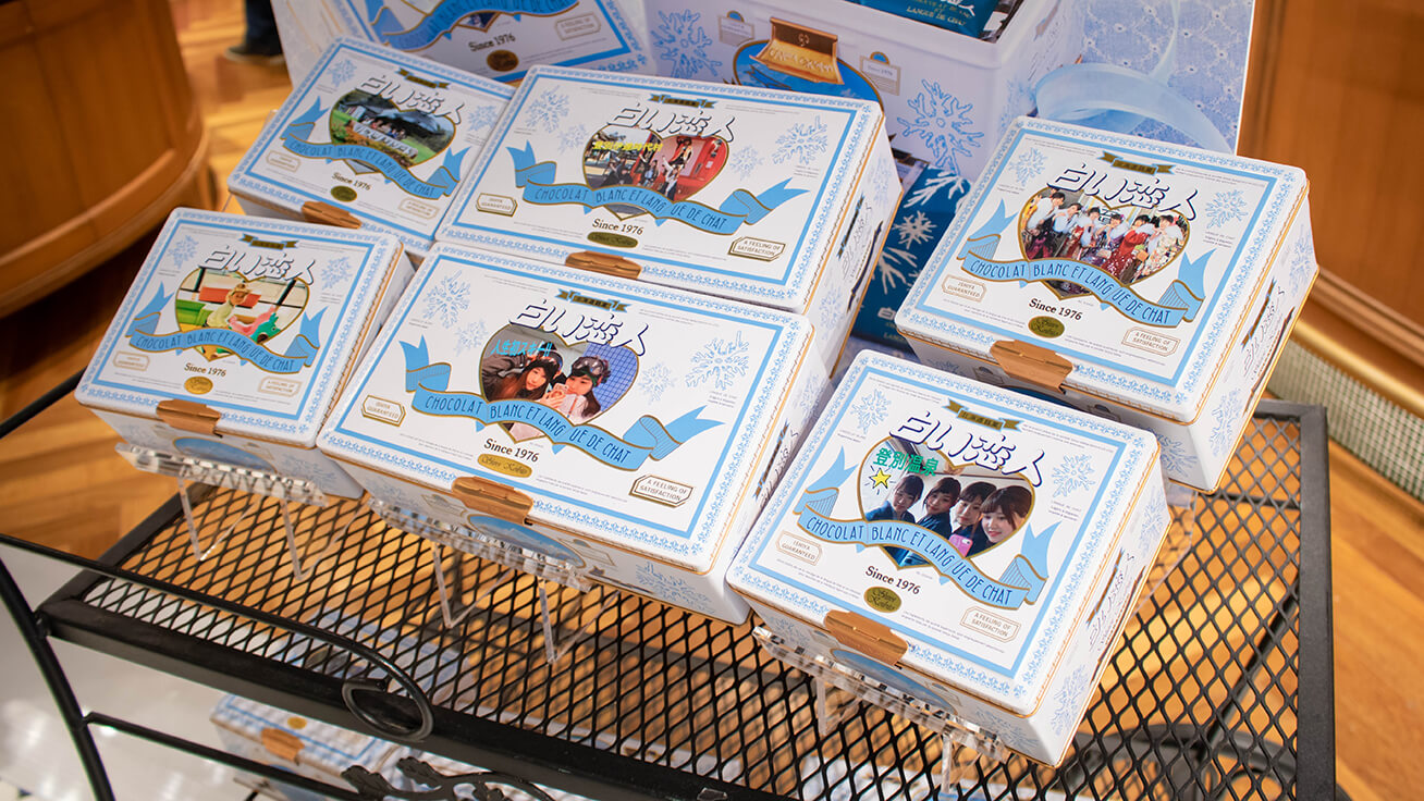 The most popular 36 pieces (right and left) and 54 pieces (middle) custom Shiroi Koibito cookie boxes.