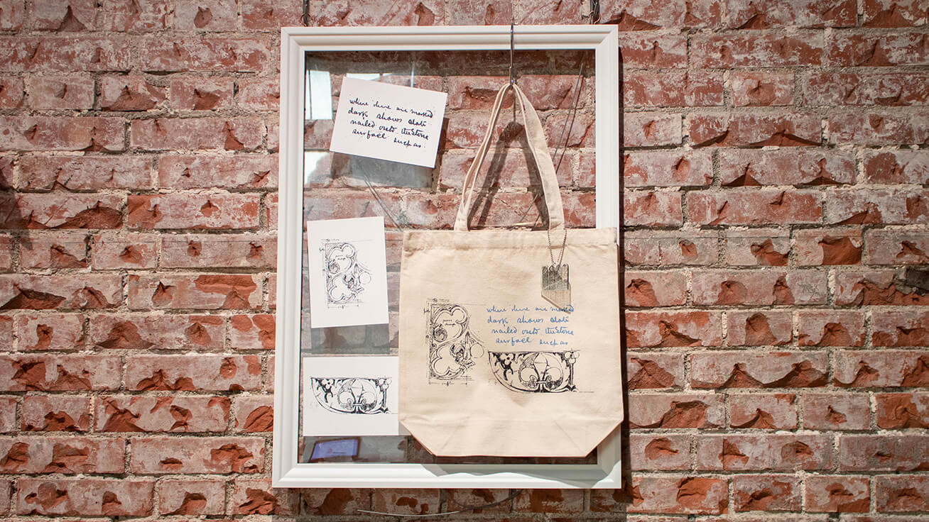 Tote bags individually designed by museum visitors.
