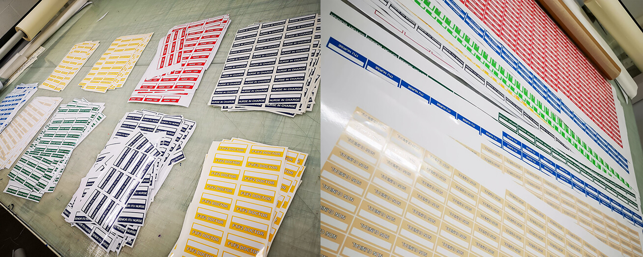 Producing color coded labels to be used on Personal Protective Equipment in hospitals.