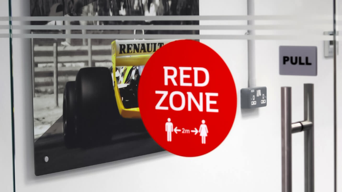 Social distancing graphics at Renault DP World F1® Team's Technical Centre