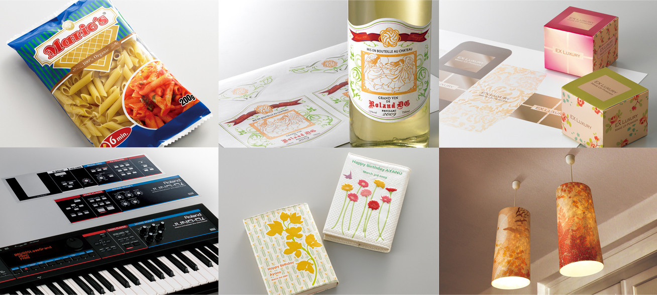 From left to right: package prototypes, labels and decals, cosmetics package prototypes,  operation panel prototypes for industrial products, custom-made goods and interior decor items