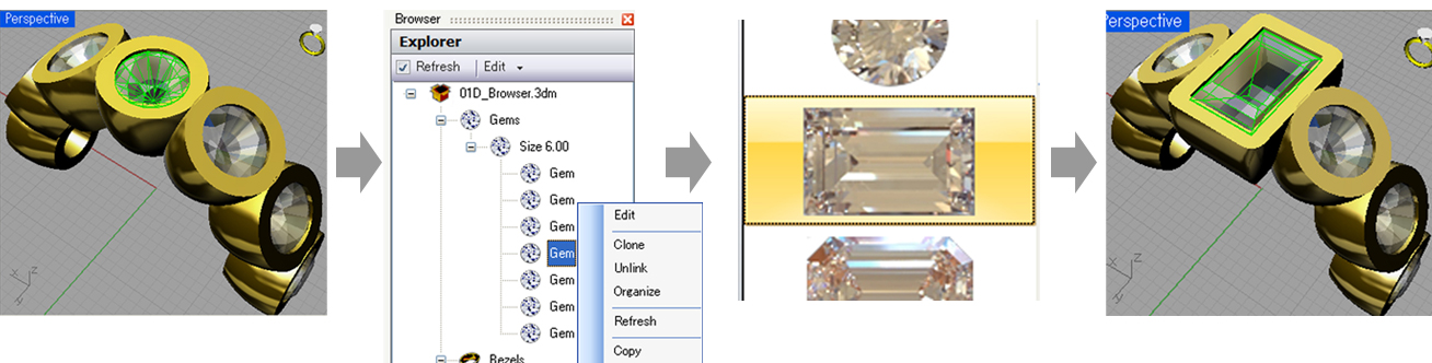 Selecting a gemstone to change. Selecting the new gem. Automatically reshapes the bezel to fit the new gem.