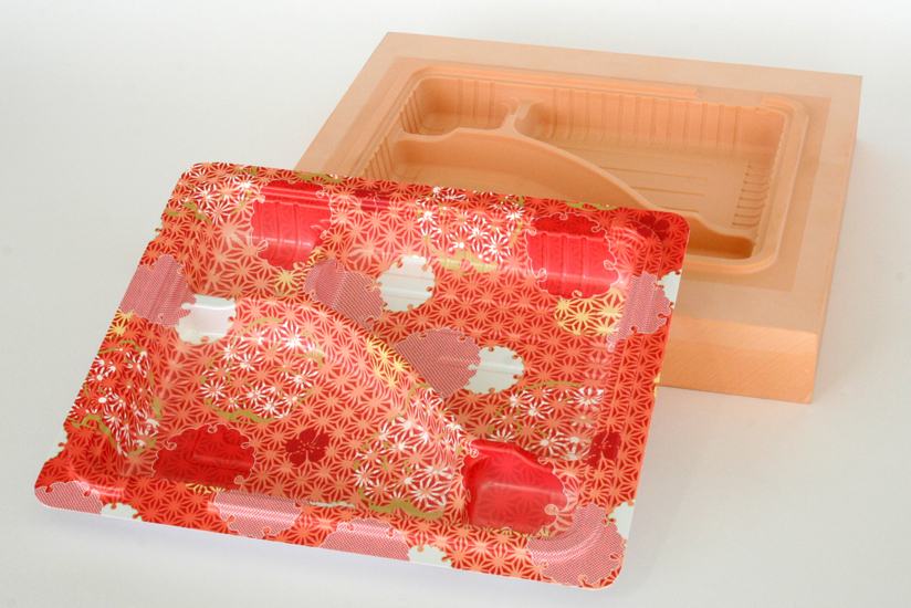 Colorful serving tray prototypes made from vacuum-formed plastic