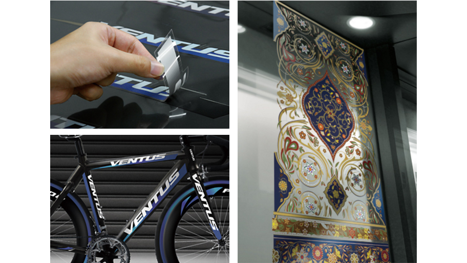 Left: Decorating racing bicycle with decals, Right: Window Graphics