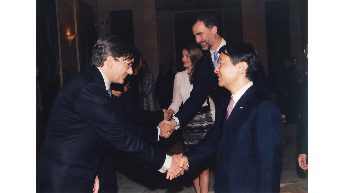 Crown Prince Naruhito of Japan, alongside Prince Felipe and Princess Letizia of Spain,  greeted by Jorge Calvo, President & CEO of Roland DG EMEA, S.L.,  at a private official reception held during the Gala Concert.